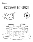School is fun Coloring Fine Motor Skills Worksheet Printable