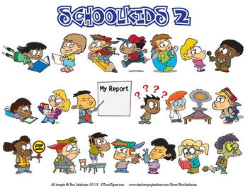 School Kids Cartoon Clipart MEGA BUNDLE