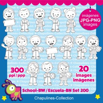 School kids clipart, black and white, Set 200