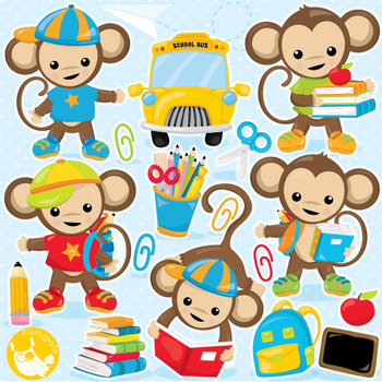 School monkeys clipart commercial use, vector graphics, digital  - CL998