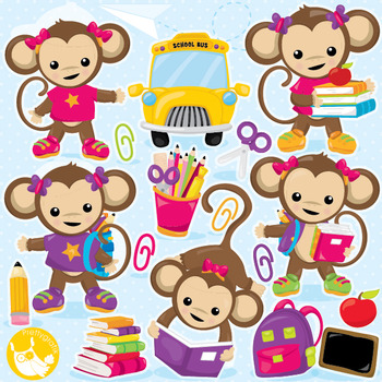 School monkeys clipart commercial use, vector graphics, digital  - CL999