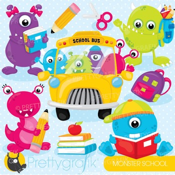 School monsters commercial use, graphics, digital clip art