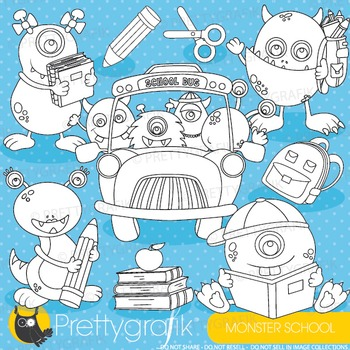 School monsters stamps commercial use, vector graphics, images - DS897