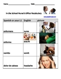 School nurse vocabulary in English/Spanish with pictures