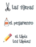 School objects and locations- Spanish labels