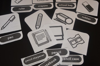 School objects: flashcards/matching cards and memory cards