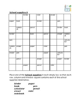 School Objects in English Sudoku