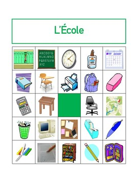 Fournitures scolaires (School Objects in French) Bingo