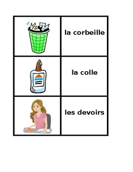 Fournitures scolaires (School Objects in French) Concentration Games