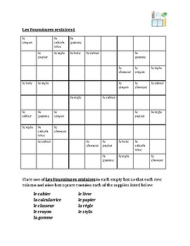 Fournitures scolaires (School Objects in French) Sudoku