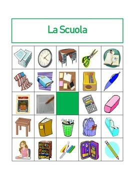 Articoli di cancelleria (School Objects in Italian) Bingo