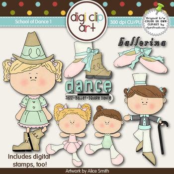 School of Dance 1-  Digi Clip Art/Digital Stamps - CU Clip Art