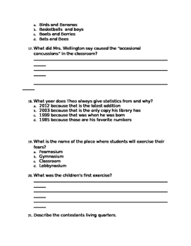 School of Fear Chapters 1-13 Quiz