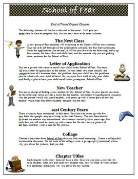 School of Fear End of Novel Project Activities and Rubric