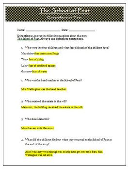 School of Fear Reading Comprehension Test and Answer Key