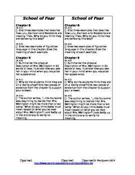 School of Fear Reading Response Questions (Common Core 6th Grade)