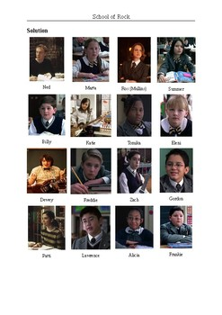 School of Rock (Movie) - Character Matching Exercises