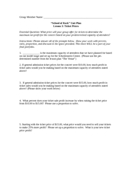 School of Rock Unit Plan Based on 7th Grade Common Core Standards