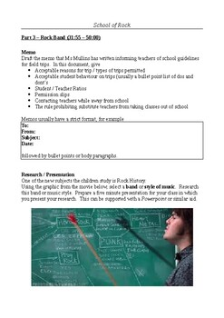 School of Rock - Writing Assignments