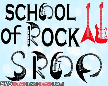 School of Rock clipart frame Music Heavy Metal instrument Guitar svg -659s