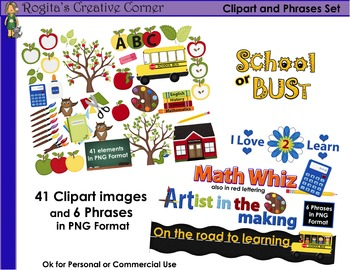 School or BUSt Clipart and Phrases Set