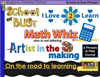 School Clipart and Phrases Set