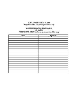 School or Church School Attendance Forms