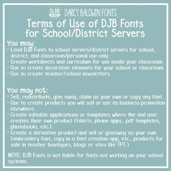 School or District Font License - DJB Fonts