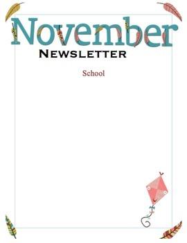 School or classroom newsletter for November