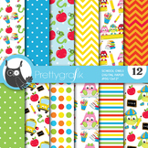 School owl papers, commercial use, scrapbook papers - PS744