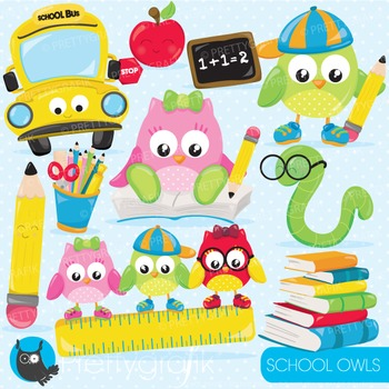 School owls commercial use, graphics, digital clip art, fa