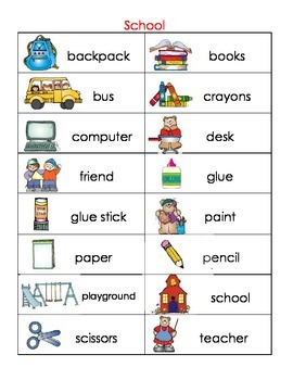School picture dictionary and word wall
