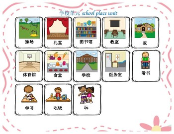 Mandarin Chinese School places flashcards (Chinese version)