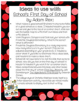 School's First Day of School Back-to-School Activity Pack