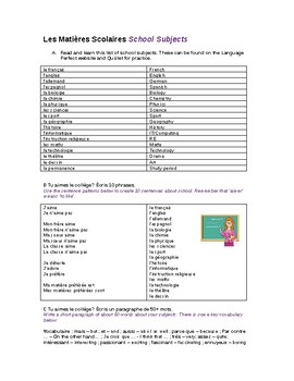 School subjects and opinions - French