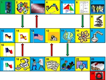 School subjects Game board power point version