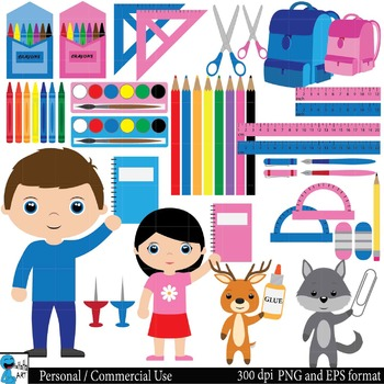 School supplies Digital Clip Art Graphics 68 images cod14