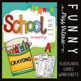 School Supply Unit - Flashcards + Games + Worksheets