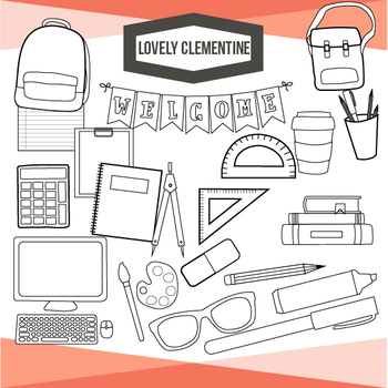 School supplies clip art - back to school  - Lovely Clementine