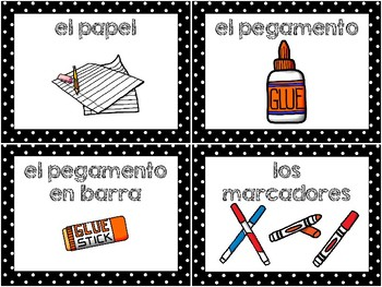 School supplies in English and Spanish