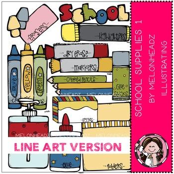 School supplies 1 by Melonheadz LINE ART