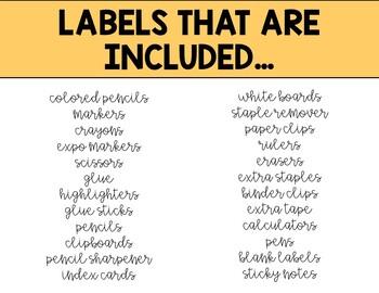 School supply bin labels