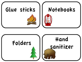 School supply camping theme labels