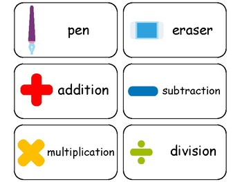 School themed printable Picture Word Flashcards.  Preschool flashcards.