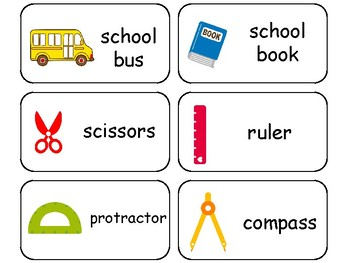 School themed printable Picture Word Flash Cards.  Prescho