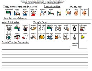 School to Home Communication Sheet
