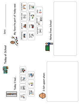 School to Home Communication Sheet for ASD