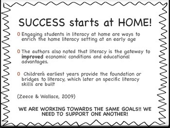 School to Home Literacy Parent Handout