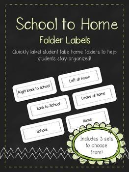School to Home Homework Folder Labels