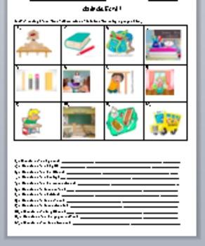 School vocabulary and Prepositions